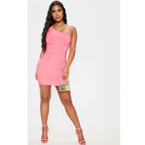 Neon Pink Slinky One Shoulder Dress